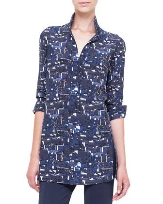 Chefchaouen-Print Polo-Style Tunic, Azurite