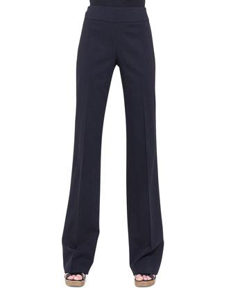 Carla Double-Faced Straight-Leg Pants, Black