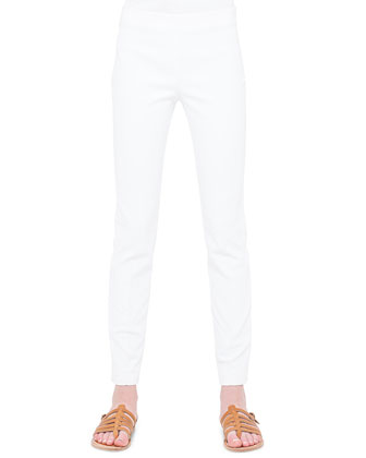Magda Flat-Front Slim-Fit Pants, Calcite
