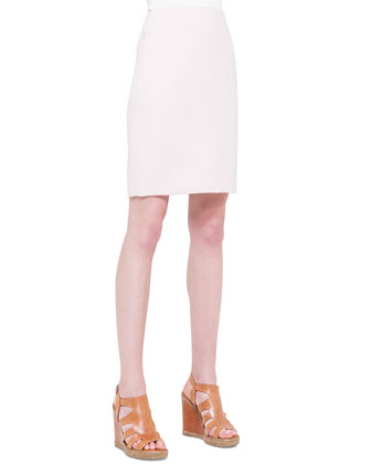 Double-Faced Zip-Pocket Pencil Skirt, Dolomite