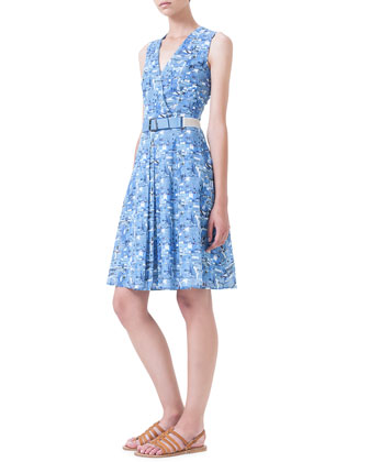 Chefchaouen-Print Belted Pleated Dress