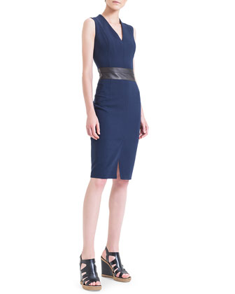 Leather-Trimmed Double-Faced Sheath Dress, Navy