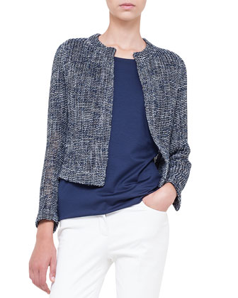 Loose-Woven Short Jacket, Azurite