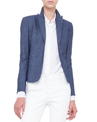 Cashmere-Blend Flannel Hook-Front Jacket, Azurite