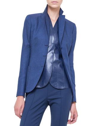 Cashmere-Blend Gabardine Blazer, Lapis Lazuli
