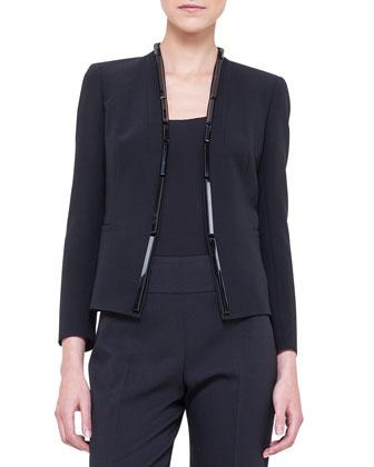 Embellished Double-Faced Jacket, Black