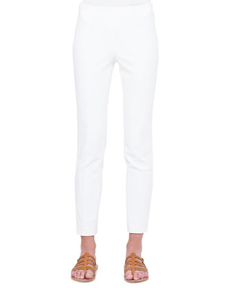 Melissa Slim-Fit Double-Faced Pants, Calcite