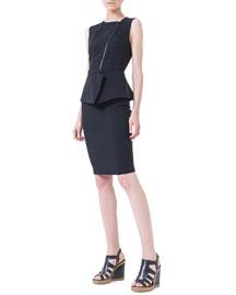 Asymmetric-Zip Peplum Dress, Black