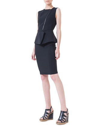 Asymmetric-Zip Peplum Dress, Black