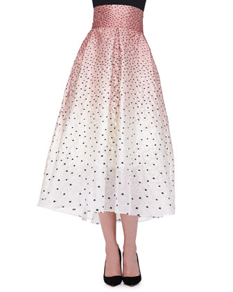 Ombre Embroidered Polka-Dot Skirt