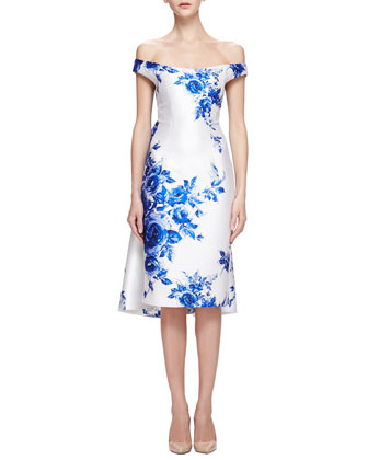 Off-The-Shoulder Floral-Print Watteau Dress