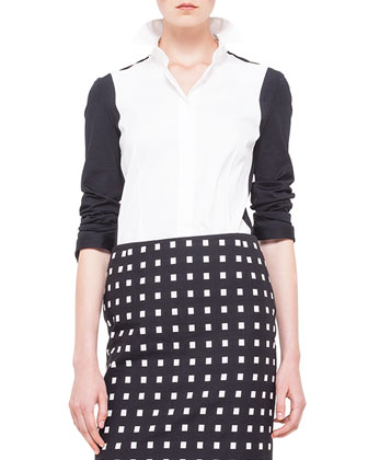 Colorblock Panel-Sleeve Blouse, Noir/Creme