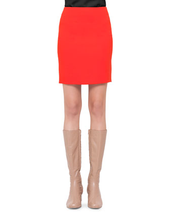 Front-Pocket Short Skirt, Rouge