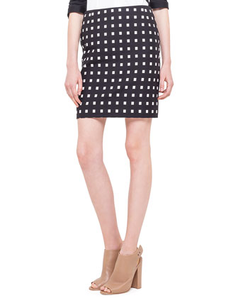 Square Dotted Jacquard Short Skirt, Noir/Creme