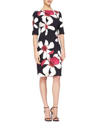 Magnolia-Print Jersey Sheath Dress