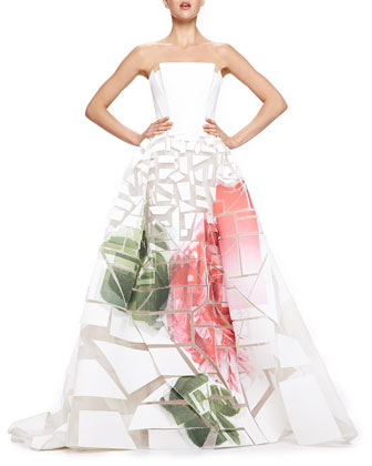 Broken-Applique Rose-Print Strapless Gown