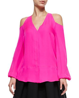 Silk Cold-Shoulder Blouse, Hot Pink