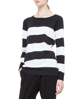 Bold-Striped Wool Sweater, Noir/Creme