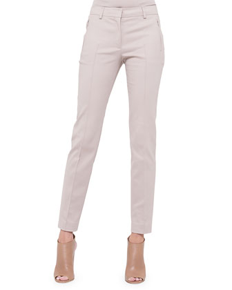 Fabia Zip-Pocket Slim-Fit Pants, Corde