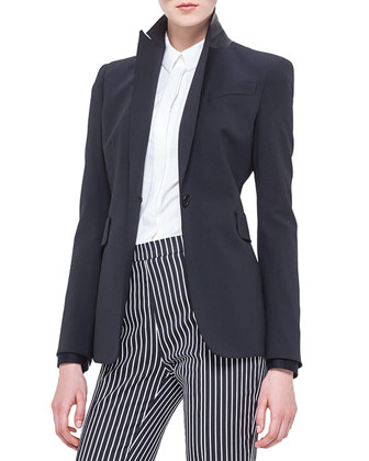 Perforated Leather-Collar Blazer, Noir