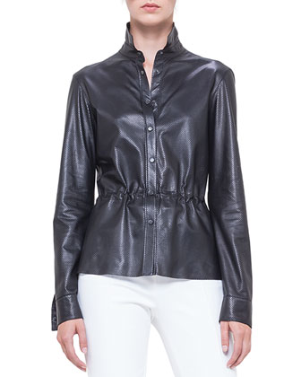 Perforated Napa Leather Drawstring Shirt, Noir
