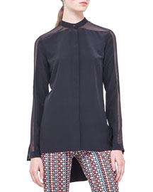 Band-Collar Sheer-Shoulder Silk Blouse, Noir
