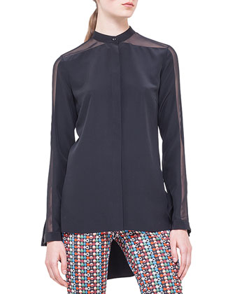 Band-Collar Sheer-Shoulder Silk Blouse, Noir