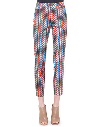 Franca Micro Record-Print Ankle Pants