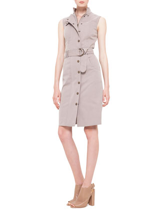Poplin Snap-Front Trench Dress, Corde
