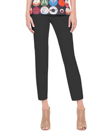Franca Square-Front-Pocket Ankle Pants, Noir
