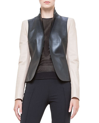 Colorblock Napa Leather Jacket, Noir/Corde