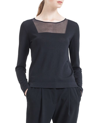 Sheer-Inset Wool Sweater