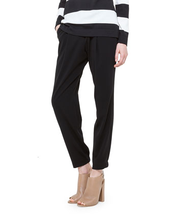 Mimi Front-Pleat Cuffed Ankle Pants, Noir
