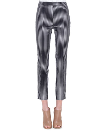 Franca Vertical-Stripe Ankle Pants, Noir/Creme