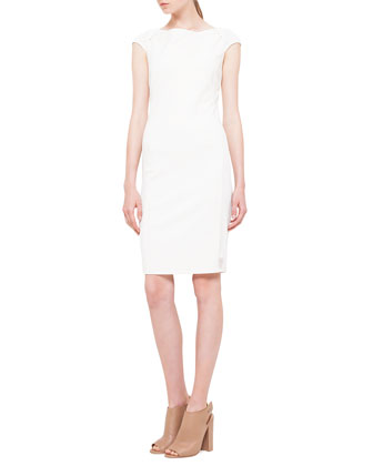 Cap-Sleeve Mesh-Inset Jersey Dress, Creme