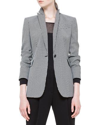 Mini-Checked Single-Button Blazer, Noir/Creme