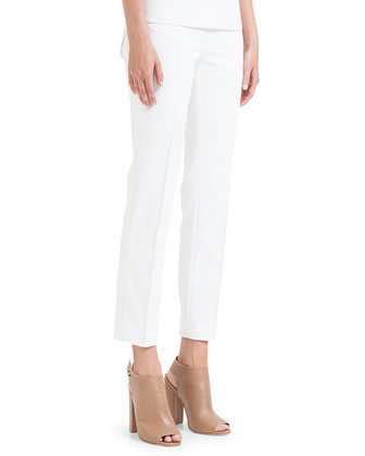 Franca Square-Front-Pocket Ankle Pants, Ecru