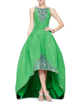 Beaded Faille High-Low Ballgown, Clover Green