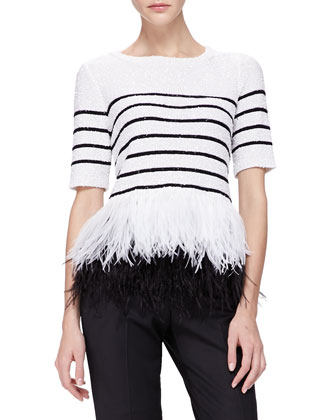Sequined Feather-Hem Top
