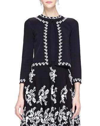 Floral-Trim Cardigan, Black/White