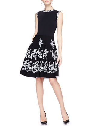 Jewel-Neck Floral Embroidered Dress, Black/White