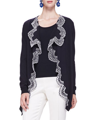 Eyelet-Trim Draped Cardigan, Navy/White