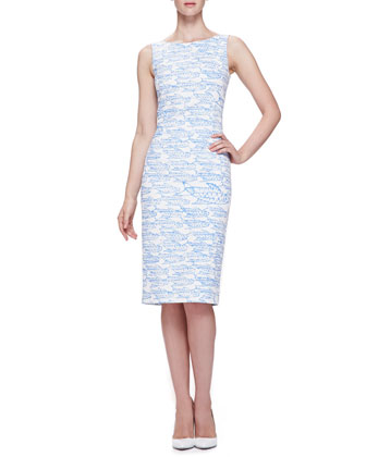 Abstract Fish Printed Pencil Dress, Wedgewood Blue