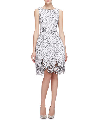 Speckled Eyelash Tweed Dress with Eyelet Hem, Midnight/White