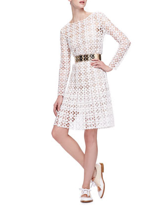 Long-Sleeve Lace Dress with Slip, White