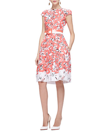 Cap-Sleeve Flower Dress with Pockets, Granita