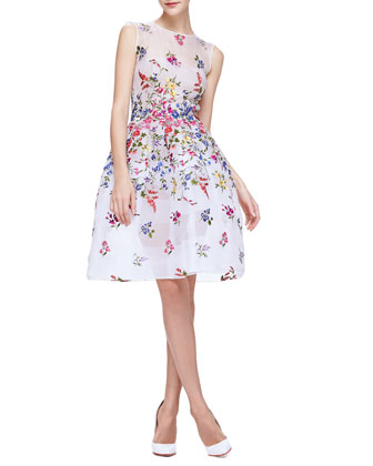 English Garden Embroidered Organza Dress, White