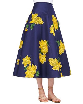 Dahlia-Embroidered Full Sateen Skirt