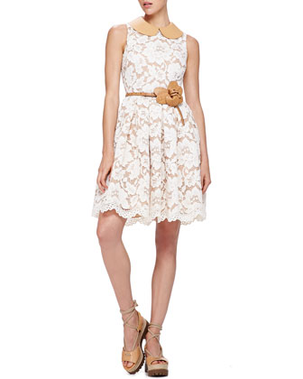 Lace Dress with Leather Collar, Muslin