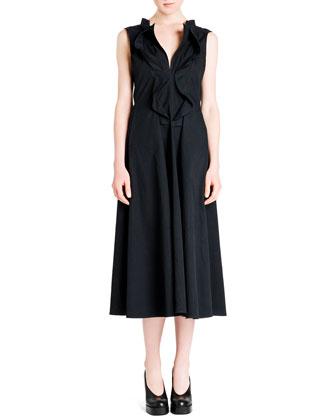 Cascade Ruffle-Front Cotton Gabardine Dress